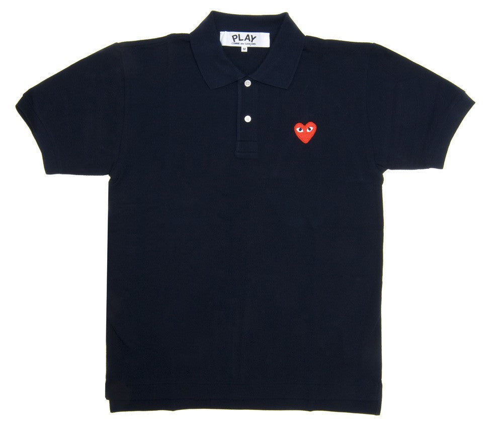 COMME DES GARCONS PLAY PIQUE POLO IN NAVY WITH RED HEART