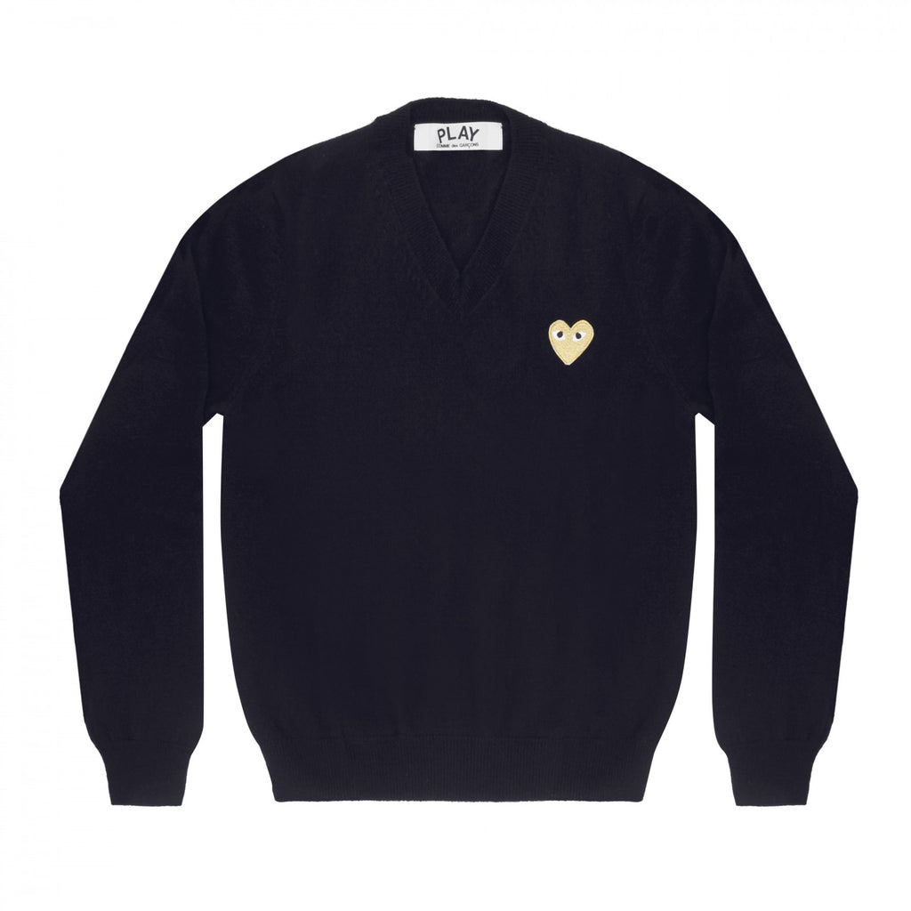 COMME DES GARCONS PLAY V-NECK SWEATER IN NAVY WITH GOLD HEART WITH EYES PATCH