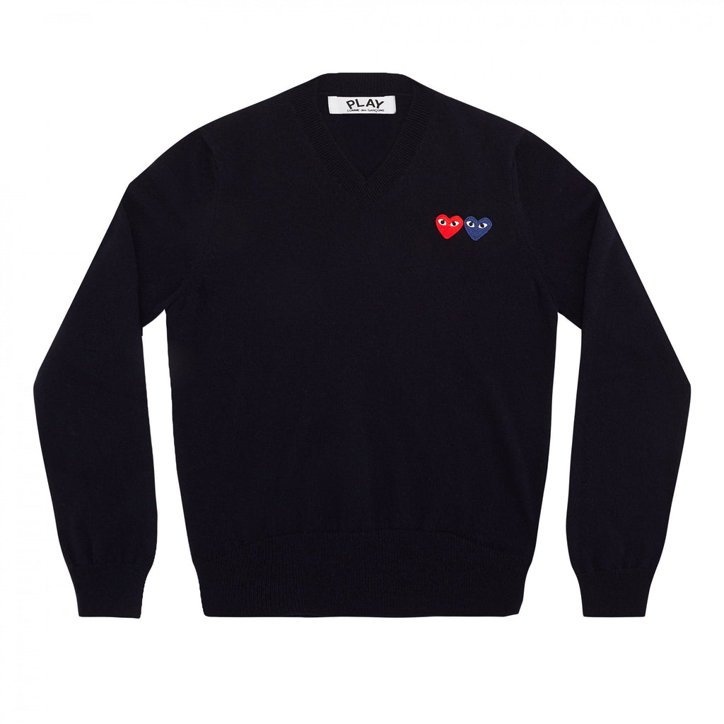 COMME DES GARCONS PLAY V-NECK SWEATER IN NAVY WITH DOUBLE HEART WITH EYES PATCHES