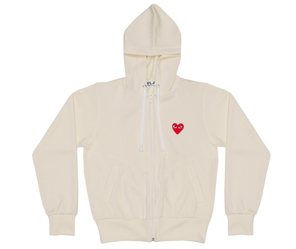 COMME DES GARCONS PLAY ZIP HOODY IN IVORY WITH RED HEART