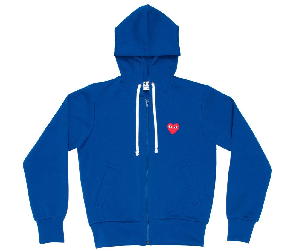 COMME DES GARCONS PLAY ZIP HOODY IN ROYAL BLUE WITH RED HEART
