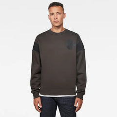 G-STAR DREIN MOTO BADGE SWEATSHIRT IN RAVEN