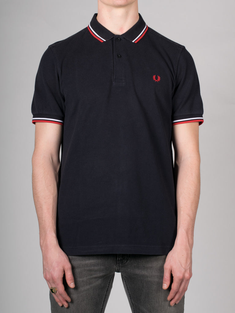 FRED PERRY SLIM FIT TWIN TIPPED SHIRT IN OZONE NAVY AND RED  - 1