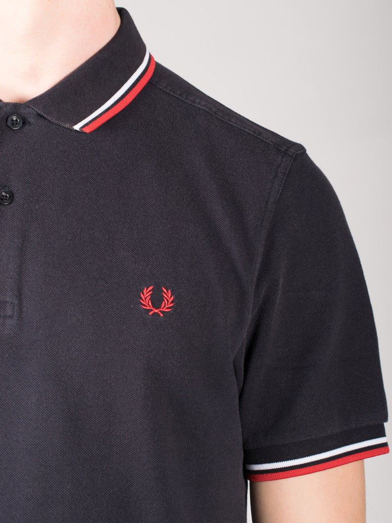 FRED PERRY SLIM FIT TWIN TIPPED SHIRT IN OZONE NAVY AND RED  - 4