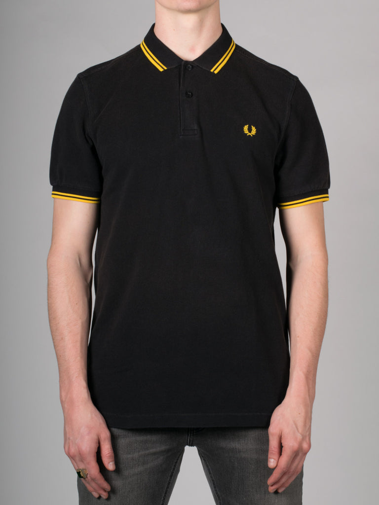 FRED PERRY SLIM FIT TWIN TIPPED SHIRT IN OZONE BLACK AND YELLOW  - 1