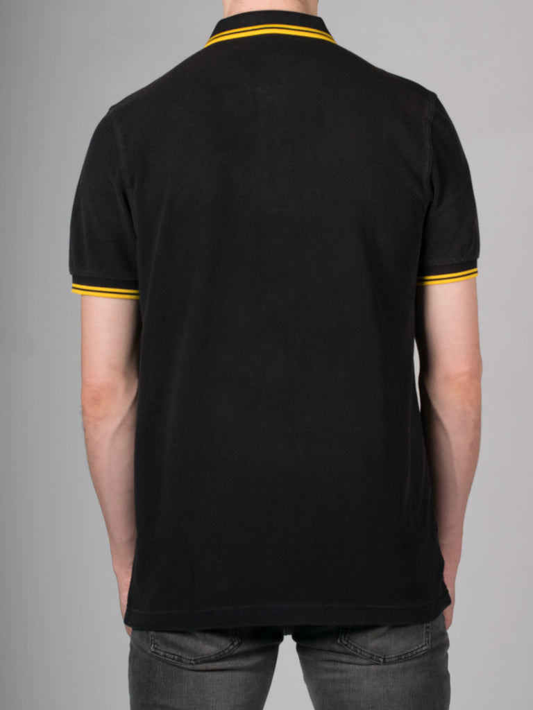 FRED PERRY SLIM FIT TWIN TIPPED SHIRT IN OZONE BLACK AND YELLOW  - 3