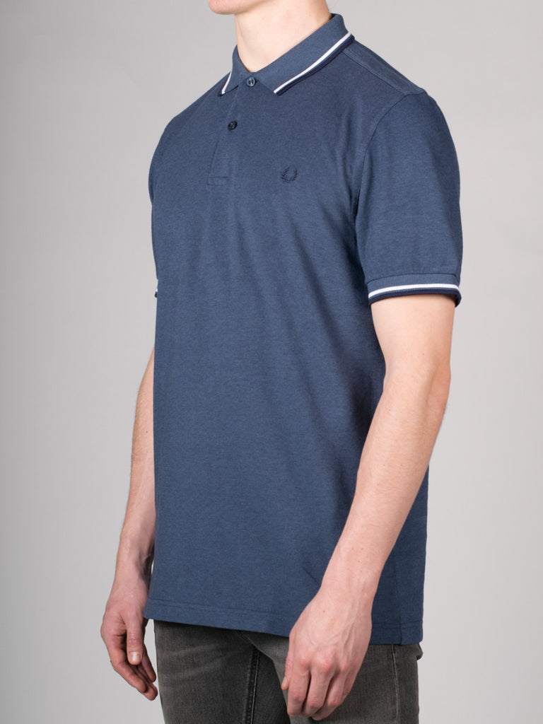 FRED PERRY SLIM FIT TWIN TIPPED SHIRT IN LAKE OXFORD  - 2