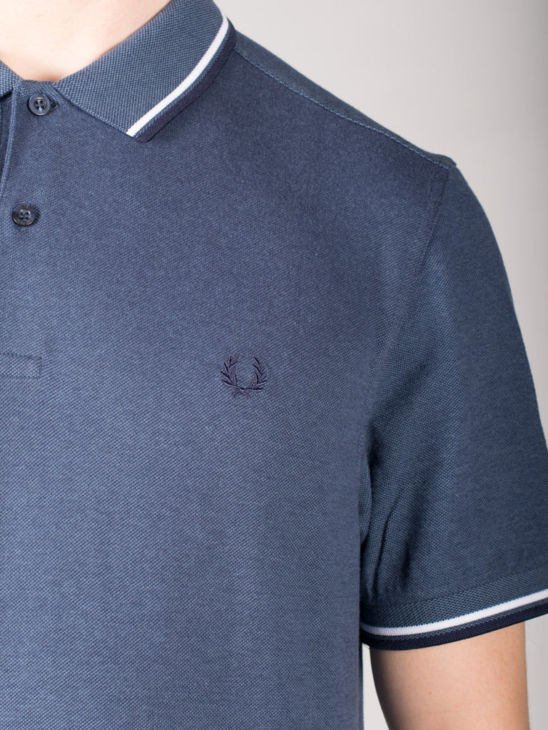 FRED PERRY SLIM FIT TWIN TIPPED SHIRT IN LAKE OXFORD  - 4