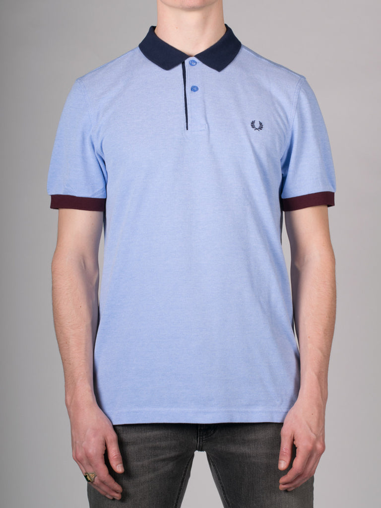 FRED PERRY COLOUR BLOCK PIQUE POLO SHIRT IN LIGHT SMOKE  - 1