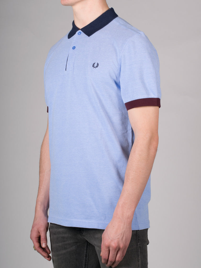 FRED PERRY COLOUR BLOCK PIQUE POLO SHIRT IN LIGHT SMOKE  - 2