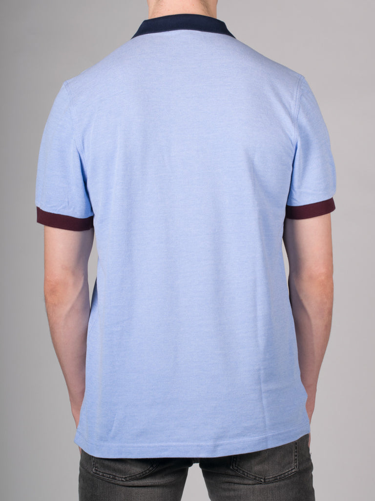 FRED PERRY COLOUR BLOCK PIQUE POLO SHIRT IN LIGHT SMOKE  - 3