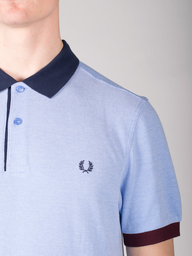 FRED PERRY COLOUR BLOCK PIQUE POLO SHIRT IN LIGHT SMOKE  - 4