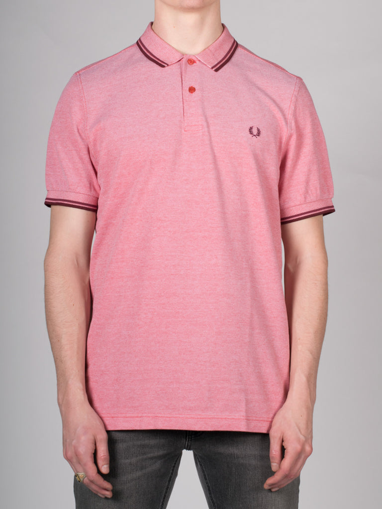 FRED PERRY SLIM FIT TWIN TIPPED SHIRT IN WASHED RED OXFORD  - 1