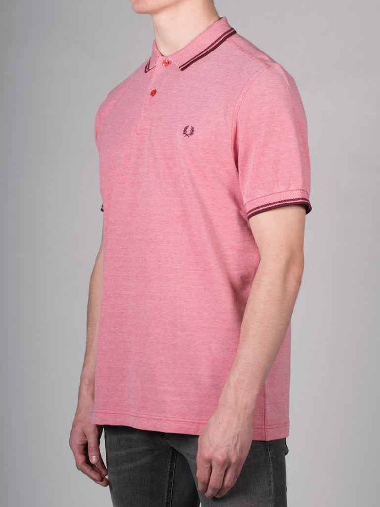 FRED PERRY SLIM FIT TWIN TIPPED SHIRT IN WASHED RED OXFORD  - 2