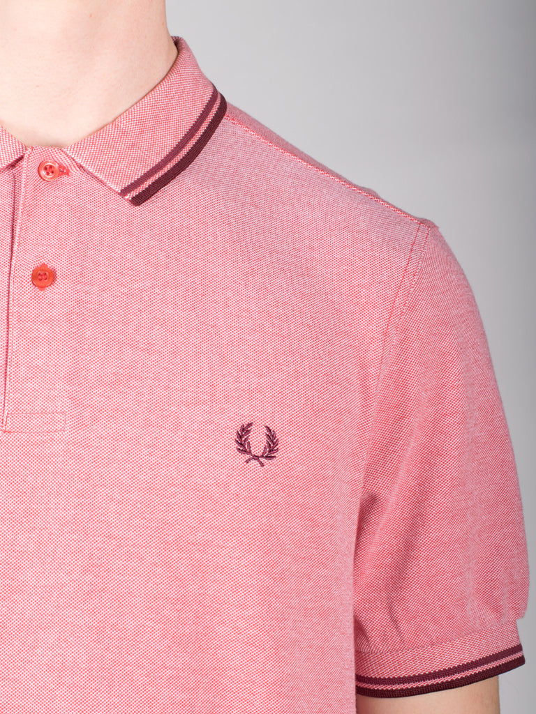 FRED PERRY SLIM FIT TWIN TIPPED SHIRT IN WASHED RED OXFORD  - 4