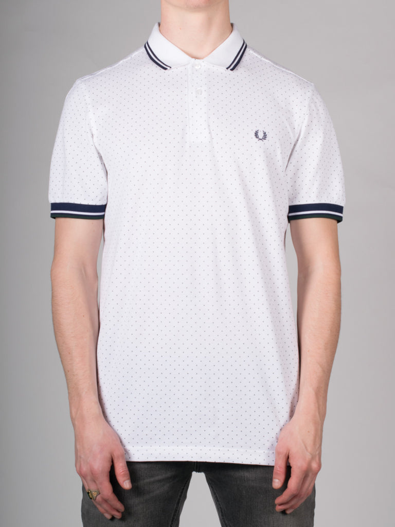FRED PERRY PRINTED DOT PIQUE POLO SHIRT IN WHITE  - 1