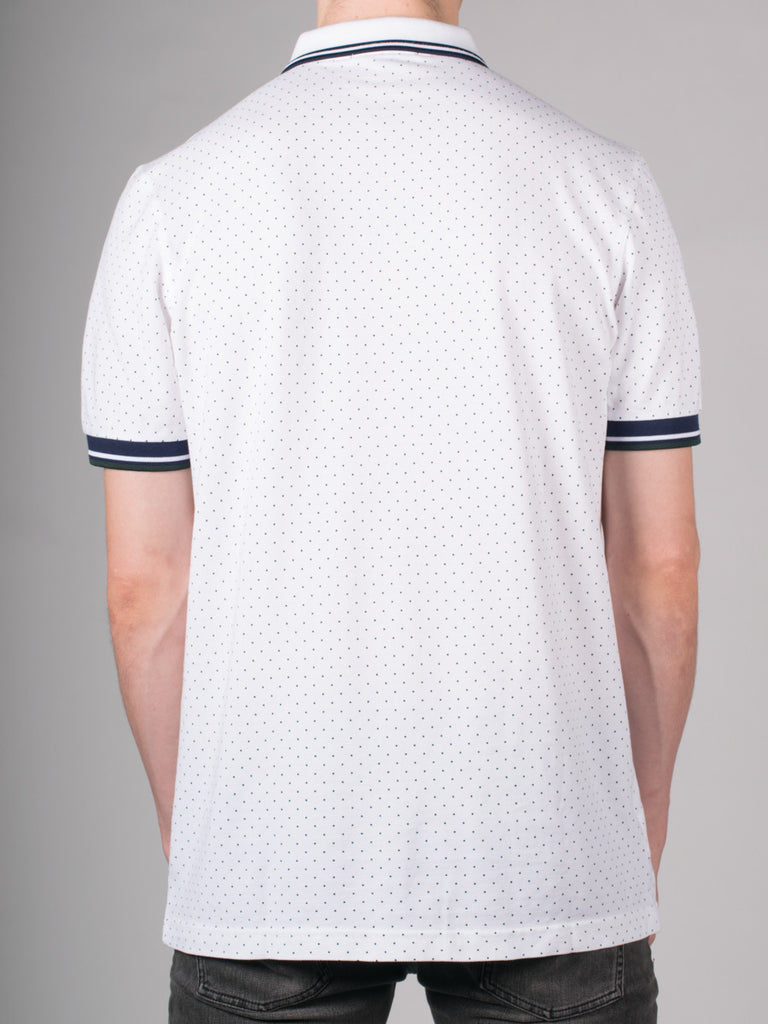 FRED PERRY PRINTED DOT PIQUE POLO SHIRT IN WHITE  - 3