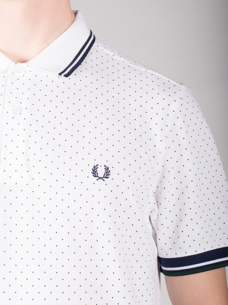 FRED PERRY PRINTED DOT PIQUE POLO SHIRT IN WHITE  - 4