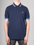 FRED PERRY PRINTED DOT PIQUE POLO SHIRT IN BLUE  - 1