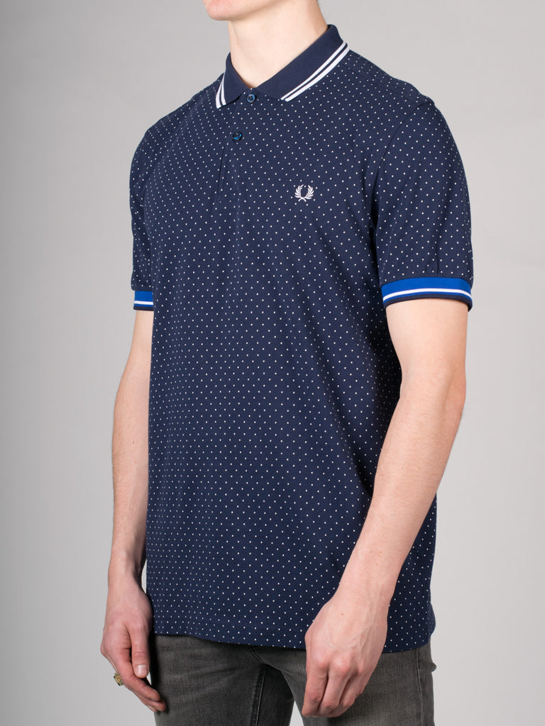 FRED PERRY PRINTED DOT PIQUE POLO SHIRT IN BLUE  - 2
