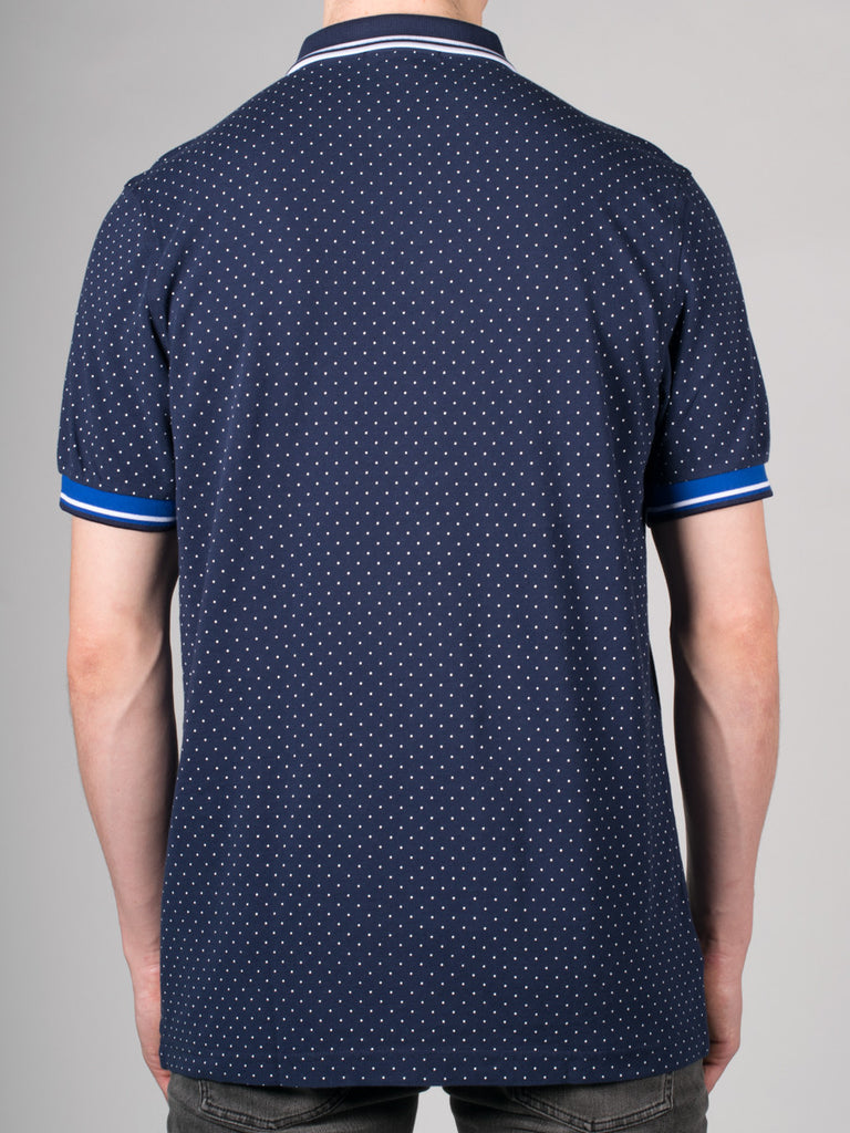 FRED PERRY PRINTED DOT PIQUE POLO SHIRT IN BLUE  - 3