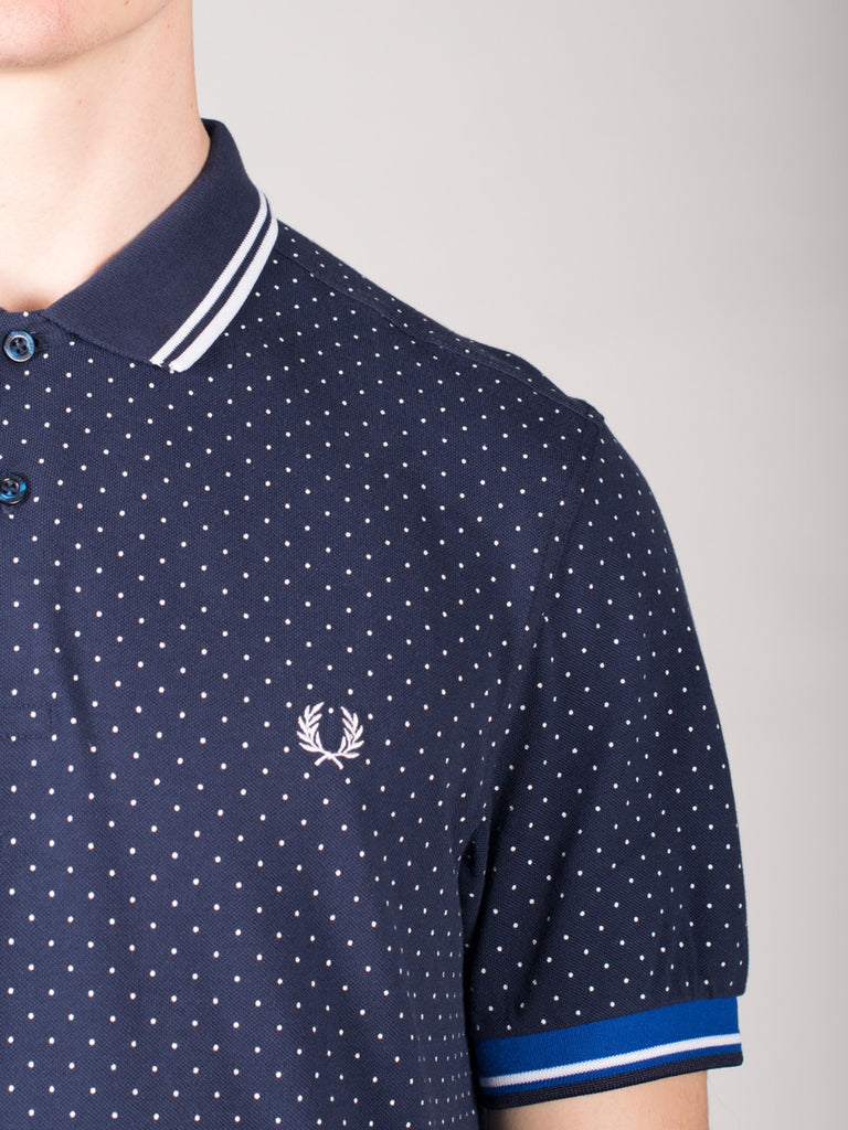 FRED PERRY PRINTED DOT PIQUE POLO SHIRT IN BLUE  - 4
