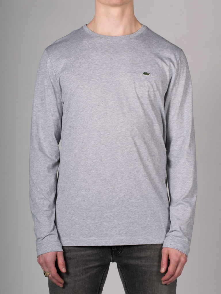LACOSTE PIMA COTTON LONG SLEEVE T-SHIRT IN GREY  - 1
