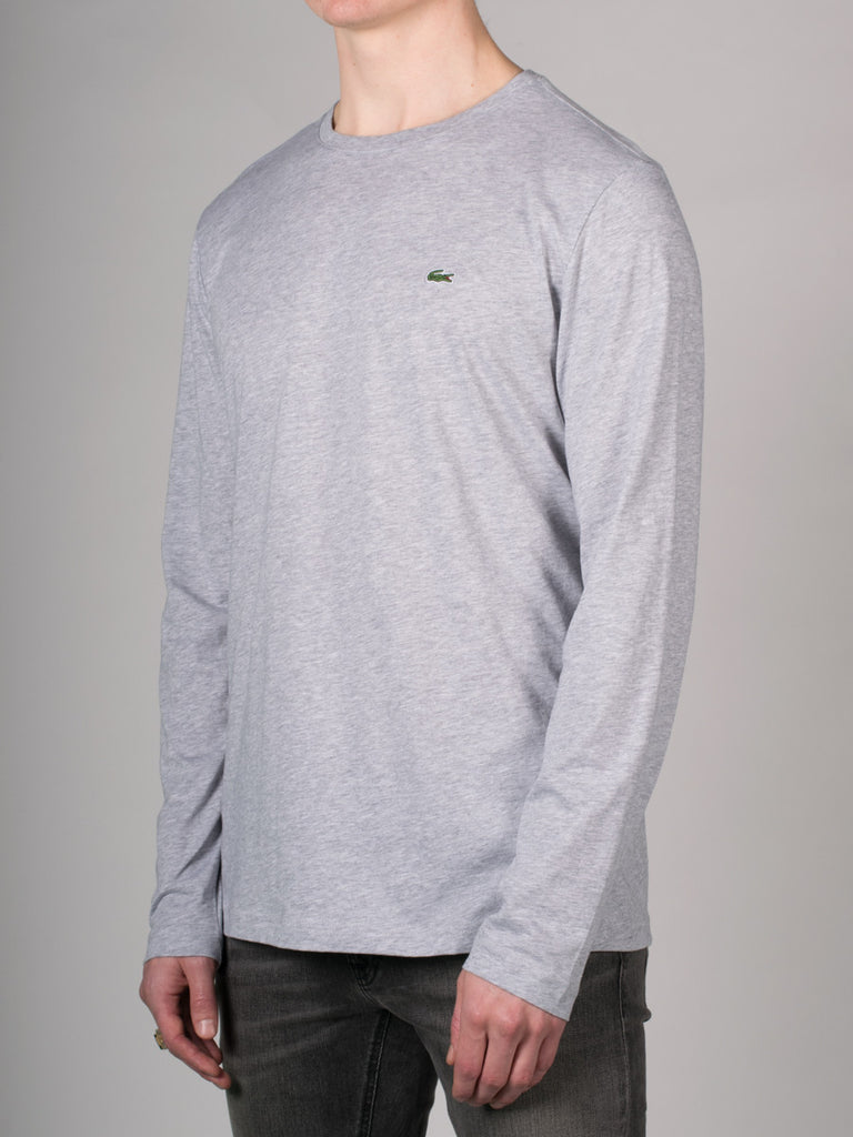 LACOSTE PIMA COTTON LONG SLEEVE T-SHIRT IN GREY  - 2