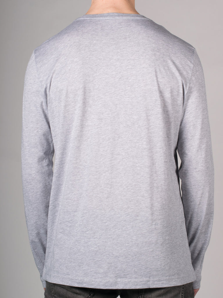 LACOSTE PIMA COTTON LONG SLEEVE T-SHIRT IN GREY  - 3