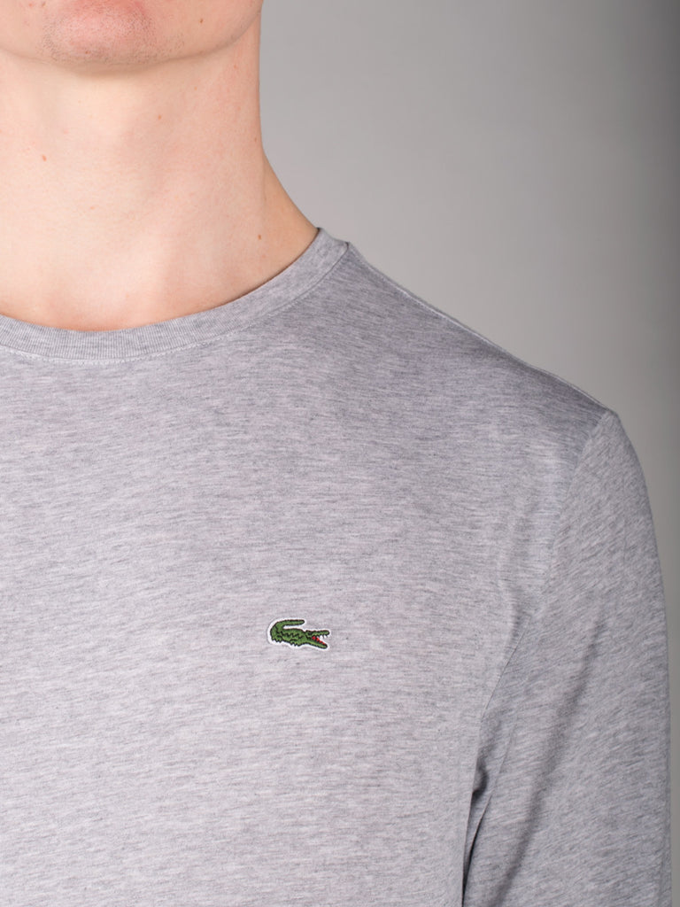 LACOSTE PIMA COTTON LONG SLEEVE T-SHIRT IN GREY  - 4