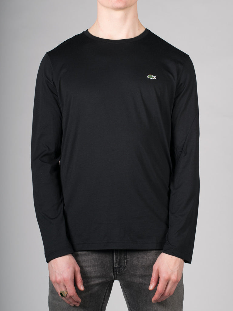 LACOSTE LOGO CREW-NECK LONG-SLEEVE T-SHIRT IN BLACK  - 1
