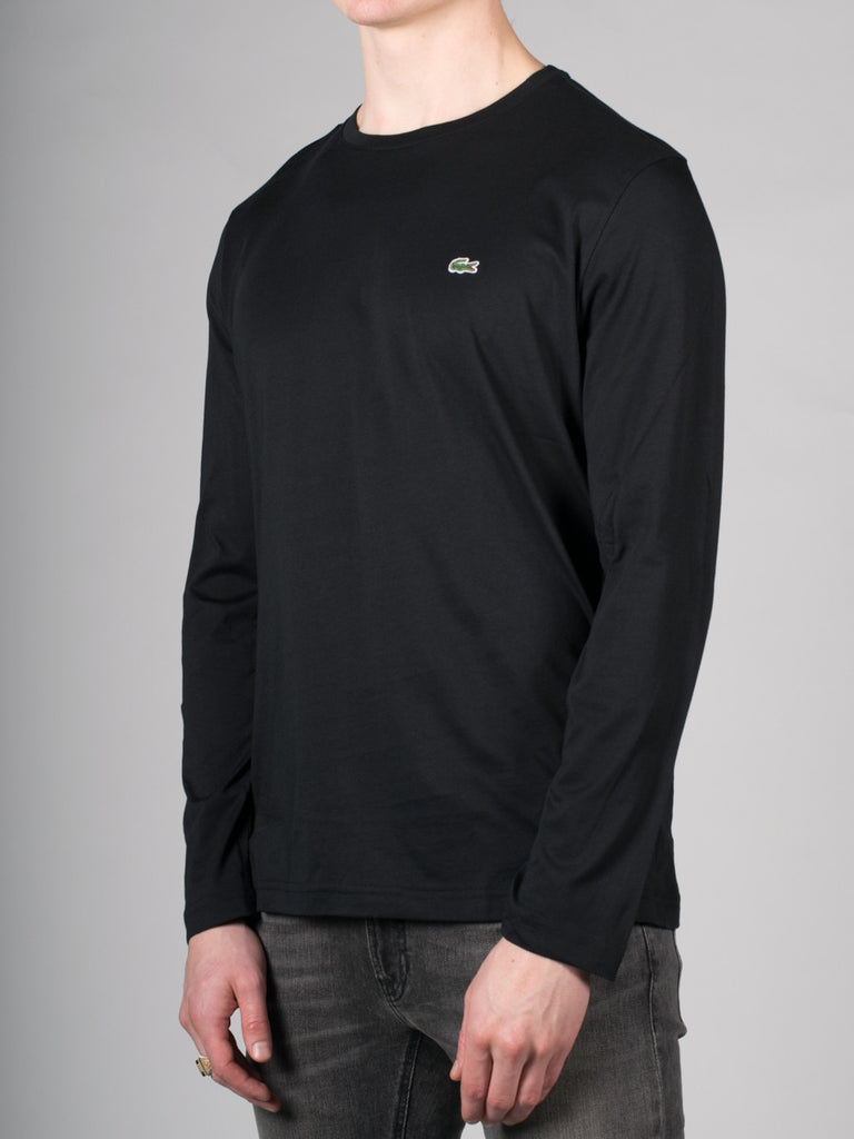 LACOSTE LOGO CREW-NECK LONG-SLEEVE T-SHIRT IN BLACK  - 2