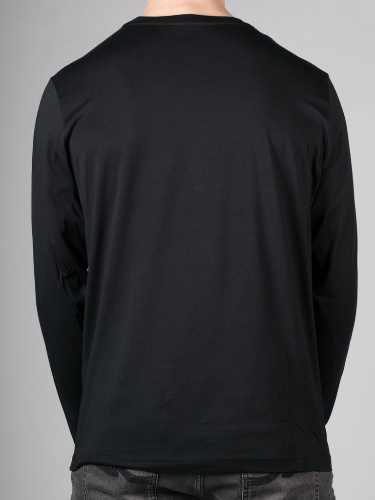LACOSTE LOGO CREW-NECK LONG-SLEEVE T-SHIRT IN BLACK  - 3