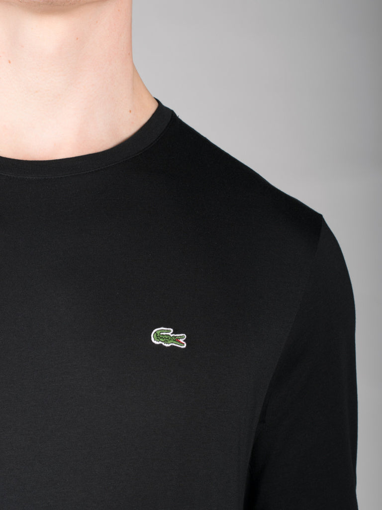 LACOSTE LOGO CREW-NECK LONG-SLEEVE T-SHIRT IN BLACK  - 4