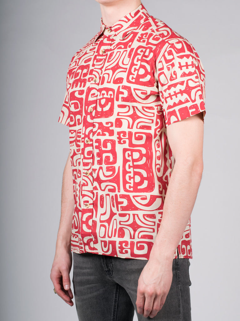 WORKSHOP COTTON SHORT SLEEVE SHIRT IN ABSTRACT PRINT  - 2