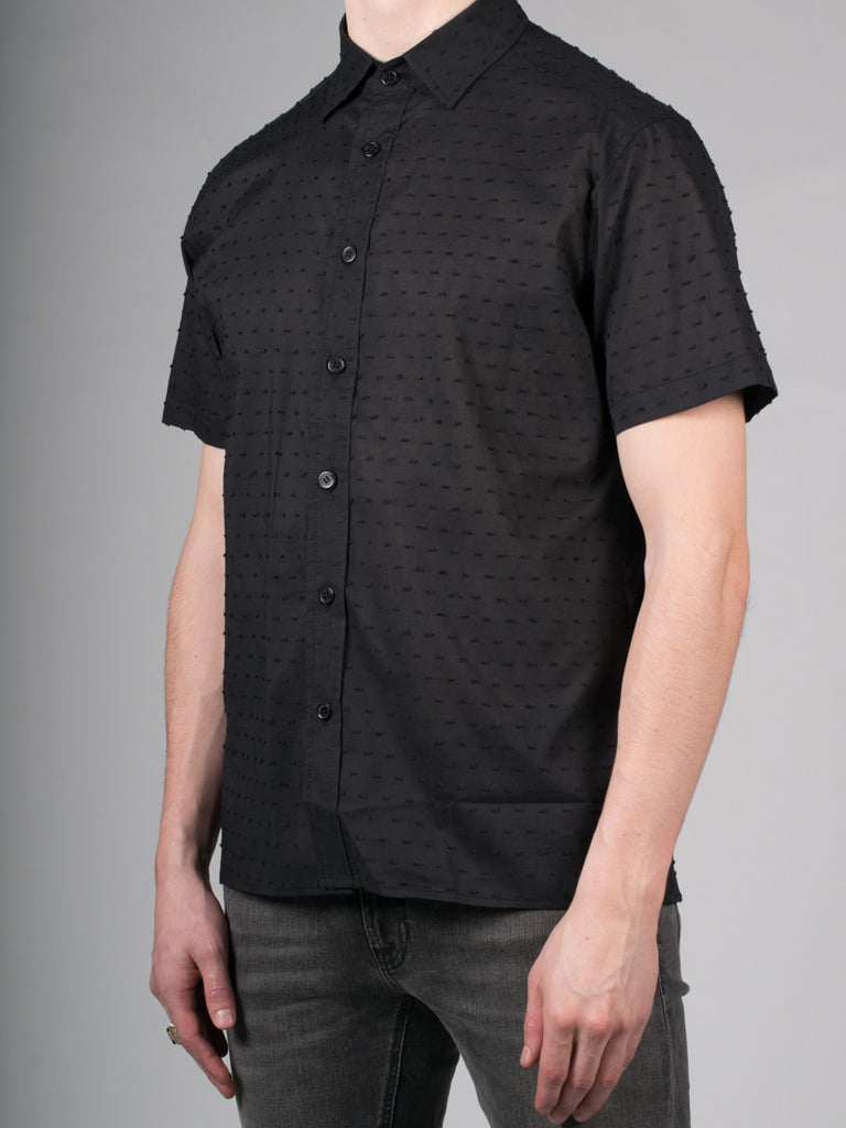 WORKSHOP COTTON SHORT SLEEVE SHIRT IN BLACK SPECKLE  - 2