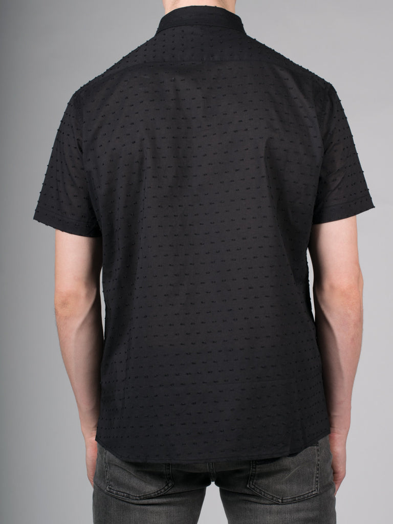 WORKSHOP COTTON SHORT SLEEVE SHIRT IN BLACK SPECKLE  - 3