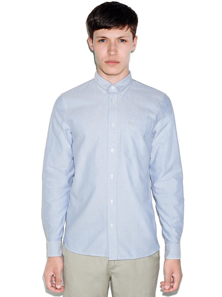 For a Smart Casual Dress Code - Fred Perry Classic Oxford Button Down Shirt in Light Smoke in mens dress shirt sizes S-L Front