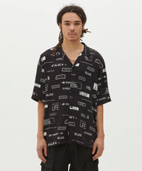 KSUBI HAVE BEEN WARNED RESORT SHORT-SLEEVE SHIRT IN BLACK - B12A46260 - FRONT