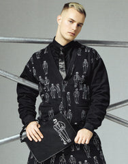 MOSCHINO CHARACTERS PRINT SWEATSHIRT CARDIGAN IN BLACK