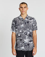 NEUW SHIELDS SHORT-SLEEVE SHIRT IN MASH UP BLACK