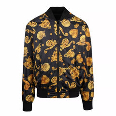 VERSACE JEANS COUTURE BAROQUE PRINT REVERSIBLE BOMBER JACKET