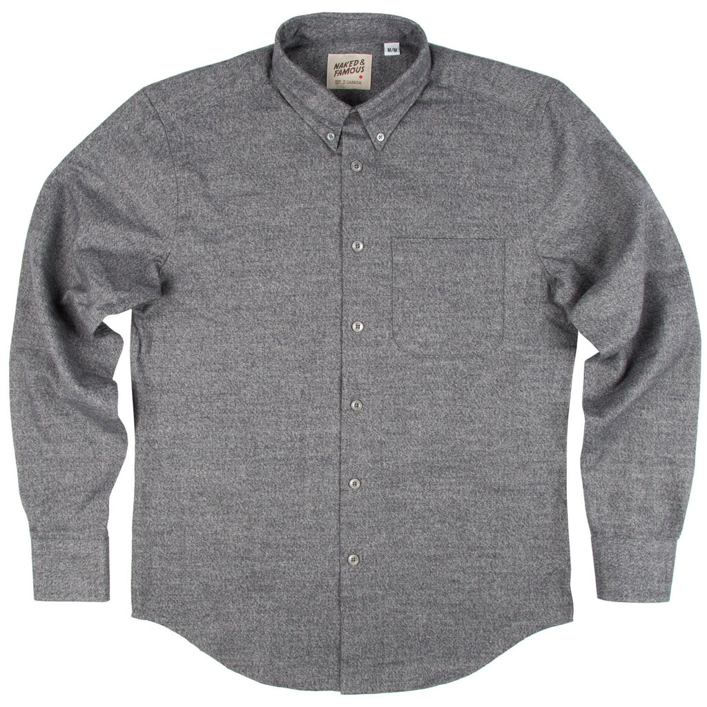NAKED AND FAMOUS REGULAR SHIRT IN GREY SHAGGY SOFT MIX TWILL  - 1