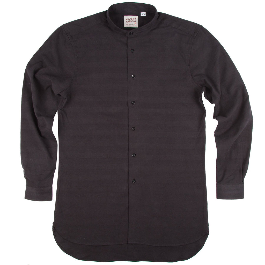 NAKED AND FAMOUS LONG SHIRT IN BLACK TONE ON TONE STRIPE  - 1