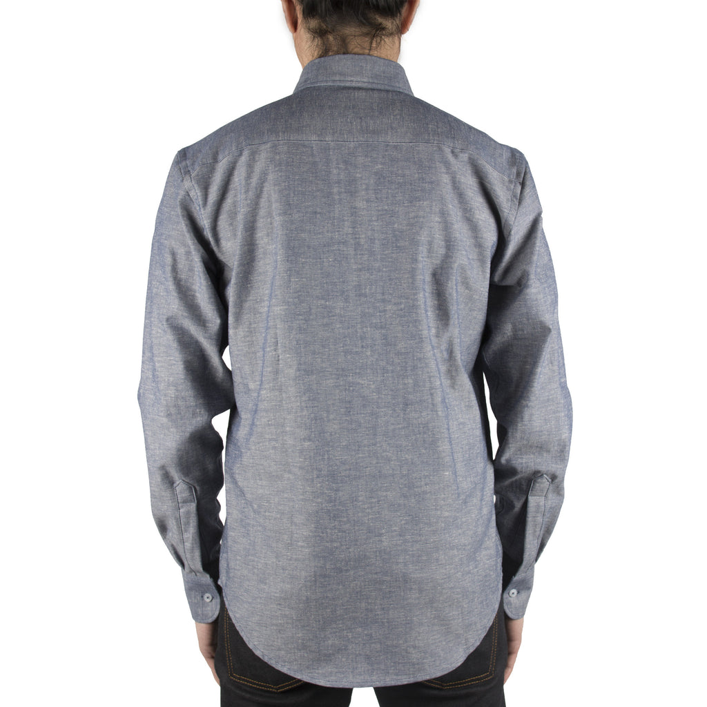 NAKED AND FAMOUS REGULAR SHIRT IN BLUE CHAMBRAY KAPOK BLEND  - 3