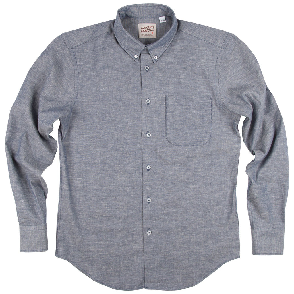 NAKED AND FAMOUS REGULAR SHIRT IN BLUE CHAMBRAY KAPOK BLEND  - 1