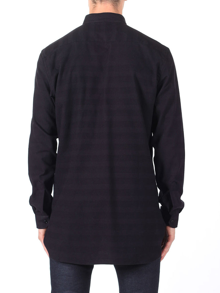 NAKED AND FAMOUS LONG SHIRT IN BLACK TONE ON TONE STRIPE  - 4