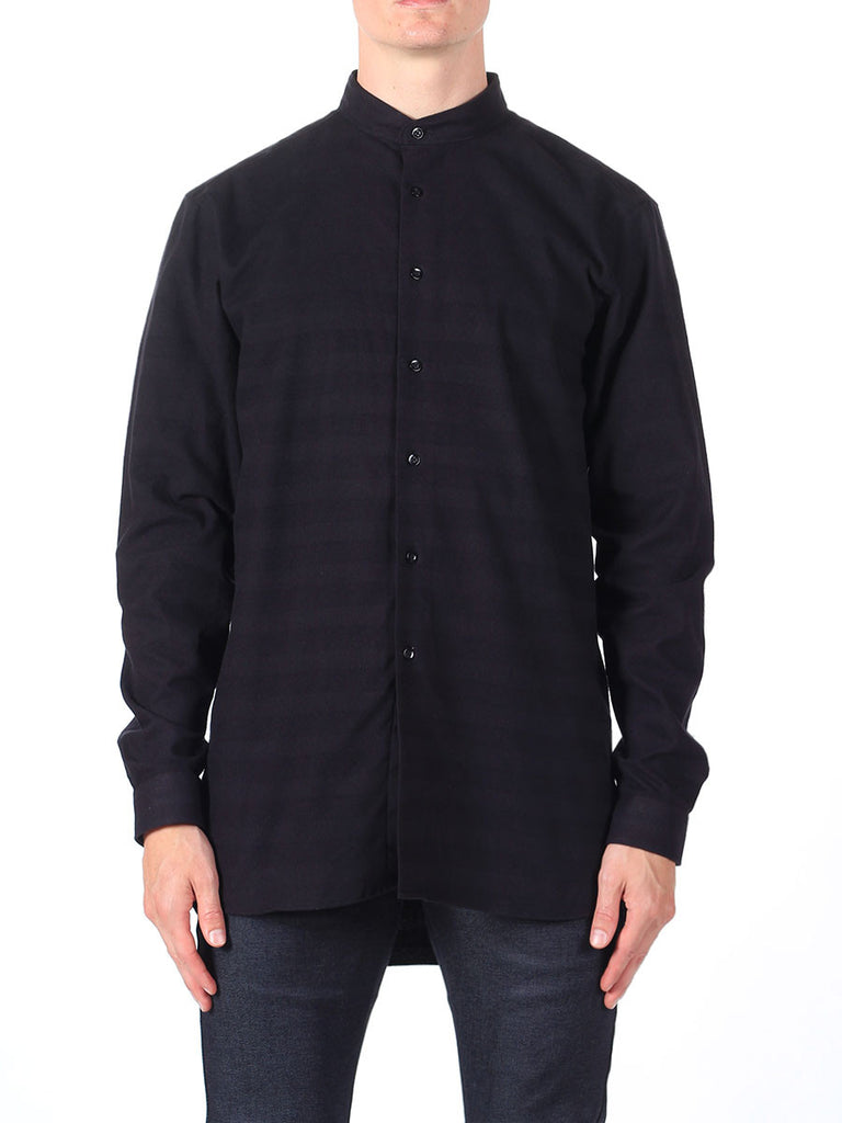 NAKED AND FAMOUS LONG SHIRT IN BLACK TONE ON TONE STRIPE  - 2