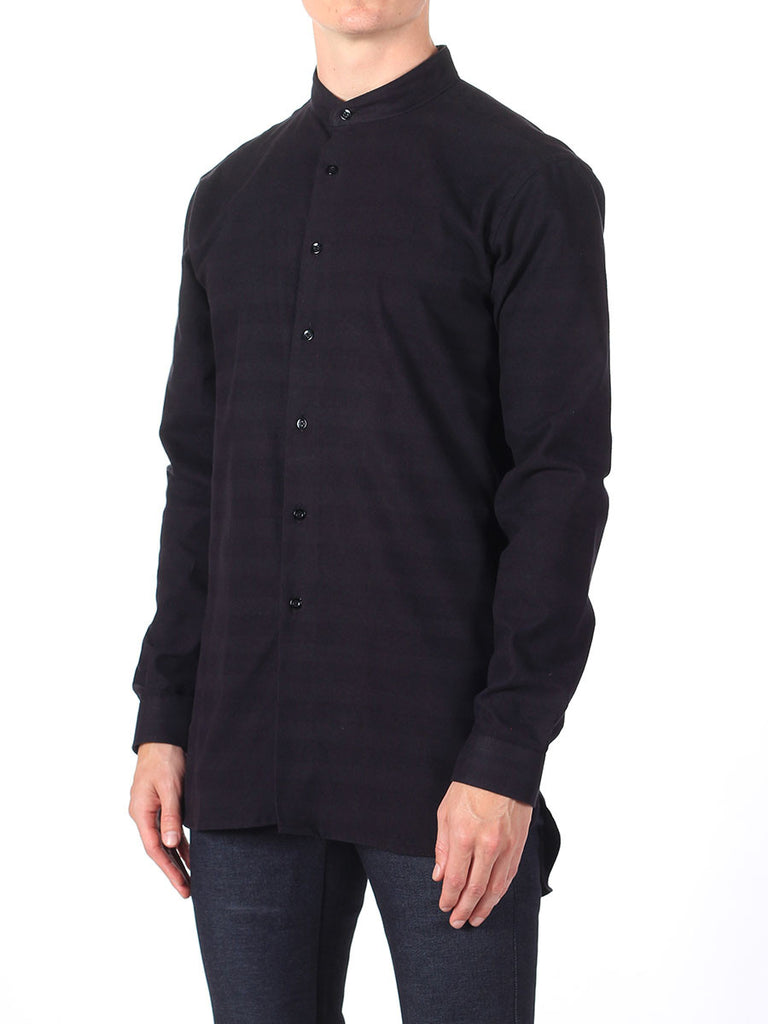 NAKED AND FAMOUS LONG SHIRT IN BLACK TONE ON TONE STRIPE  - 3
