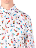 NAKED AND FAMOUS REGULAR SHIRT IN WHITE WITH GEISHA PRINT  - 5